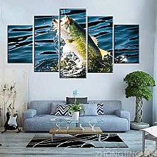 5 Piece Canvas Wall Art Animal Fish Abstract Mural