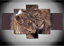 5 Piece Canvas Wall Art Animal Lion Couple