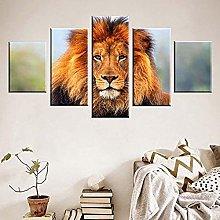 5 Piece Canvas Wall Art Animal Lion Hd Printed