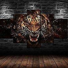 5 Piece Canvas Wall Art Fierce Tiger Roaring