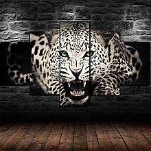5 Piece Canvas Wall Art Leopard Tiger Animal