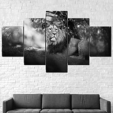 5 Piece Canvas Wall Art Lion Animal Abstract Mural