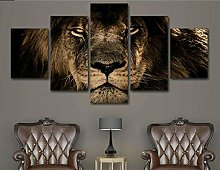 5 Piece Canvas Wall Art Lion King Animal Portrait