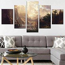 5 Piece Canvas Wall Art Mountain Lake Nature