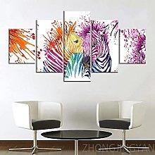 5 Piece Canvas Wall Art Multicolor Zebra Animal