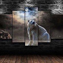5 Piece Canvas Wall Art Polar Bear Arctic Animal