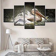 5 Piece Canvas Wall Art Water Splash Animal 鹈鹕