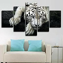5 Piece Canvas Wall Art White Tiger Predator