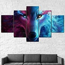 5 Piece Canvas Wall Art Wolf Fantasy Eyes Animal