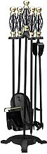 5 Piece Fireplace Tool Set with Gold Cage Handles
