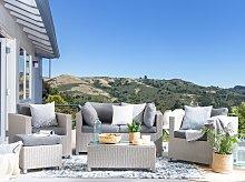 5 Piece Garden Sofa Set Beige w/ Grey Cushions 4