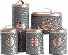 5 Piece Grey & Copper Kitchen Storage Canister Se