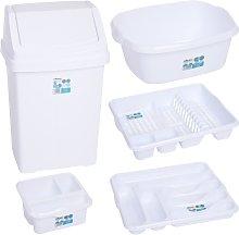 5 Piece Ice White Kitchen Bin Se