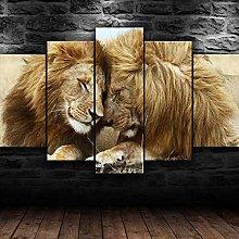 5 Piece Modern Artwork Lion Animal Hd Stretched