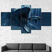 5 Piece Modern Stretched And Framed Giclee Canvas