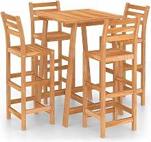 5 Piece Outdoor Bar Set Solid Acacia Wood - Brown