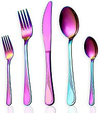5-piece rainbow color tableware set, stainless steel titanium colored coated cutlery set