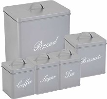 5 Piece Square Kitchen Storage Canister Set Tin