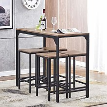 5 Pieces Kitchen Bar Table and 4 Stools Set for