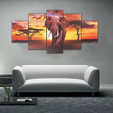 5 Pieces Sunset Elephant Landscape Painting Canvas