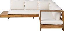 5 Seater Acacia Wood Garden Corner Sofa Set White