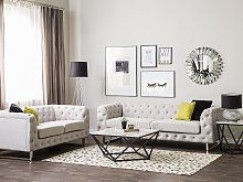 5 Seater Chesterfield Sofa Set Beige Ivory Button