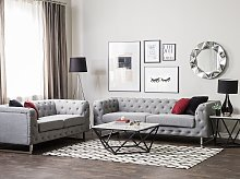 5 Seater Chesterfield Sofa Set Light Grey Button