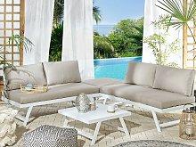 5 Seater Garden Sofa Set Taupe Cushions White