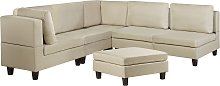 5 Seater Modular Fabric Corner Sofa with Ottoman