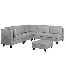5 Seater Modular Fabric Corner Sofa with Ottoman