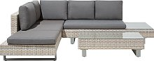5 Seater Rattan Garden Corner Sofa Set Grey