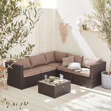 5-seater rattan garden furniture sofa set table,