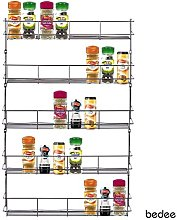 5 Tier Chrome Spice Herb Jar Rack Holder for