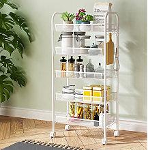5 Tier Mobile Kitchen Food Mesh Storage Trolley
