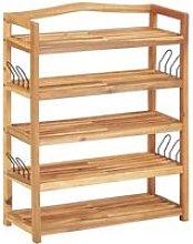 5-Tier Shoe Rack 64x26x80 cm Solid Acacia Wood