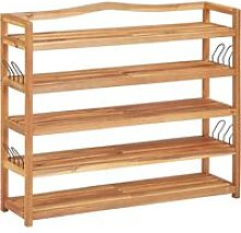 5-Tier Shoe Rack 95x26x80 cm Solid Acacia Wood -