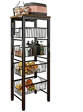 5 Tier Wire Basket Stand Cart for Fruit, Thick
