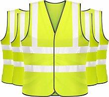 5 X Hi Vis Vest High Visibility Waistcoat Yellow &