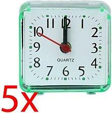 5 X Quartz Alarm Clock Mini Travel Analogue Light