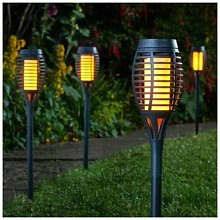 5 x Solar Powered Flame Effect BLACK Flaming Party