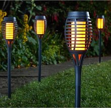 5 x Solar Powered Flame Effect Slate Grey Flaming