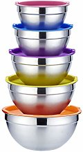 5 X Stainless Steel Mixing Bowls,Non Slip Silicone
