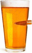 50 CALIBER BEER PINT GLASS   Embedded Bullet 16oz