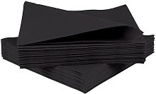 50 Linen Feel Luxury Black Paper Napkins