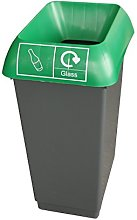 50 Litre Recycling Bin With Green Lid & Glass Logo