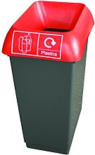 50 Litre Recycling Bin With Red Lid & Plastic