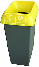50 Litre Recycling Bin With Yellow Lid & Mixed