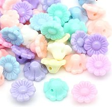 50 Pastel Flower Beads Shank Buttons Acrylic 12mm