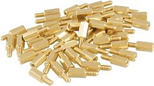 50 Pcs Brass Screw Thread PCB Stand-Off Spacer M3
