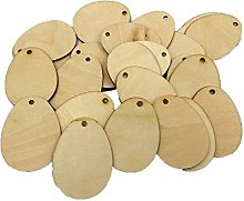 50 Pcs Easter Wooden Emblishments Natural